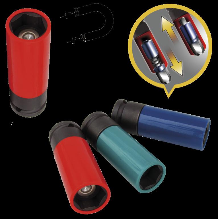 Krafttopsæt til hjulskift med magnet