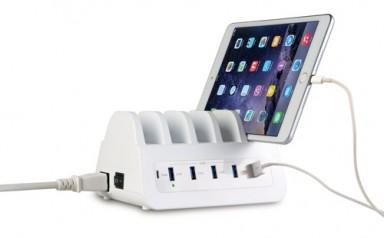 Oplader USB med holder - 5 porte