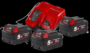Lader og 3×18V/5,0 Ah batterier NRG-503