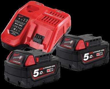 Lader + 2×18V/5,0Ah batterier NRG-502